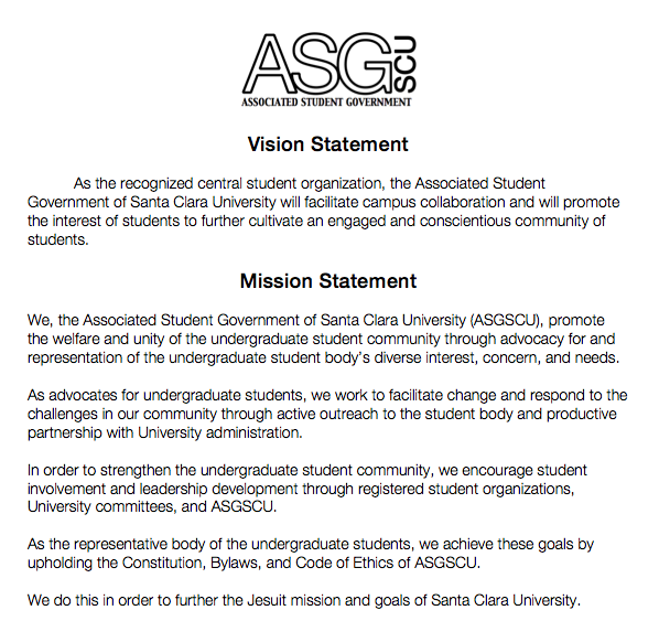 Mission and Vision Statements | student government ethics